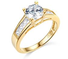 2.35 Ct Round Engagement Wedding Ring Real 14K Yellow Gold Diamond Simulation