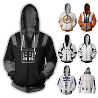 Star Wars 3D Hoodie Sweatshirt Zipper Jacket Coat Darth Vader Jedi Cosplay Suit
