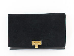 Tory Burch Black Suede Pebbled Leather Fold Over Top Carmen Clutch Bag