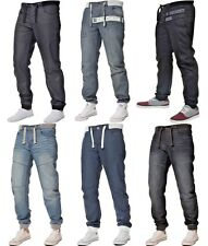 Enzo Mens Designer Cuffed Jogger Jeans Elasticated Denim Pants All Waist Sizes