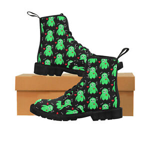 Zombie Sloth Ladies Lace Up Boots, Festival, Punk, Rock, Goth, Alternative 4-8.5