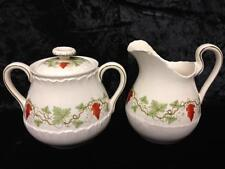 WEDGWOOD Bacchus Red Grapes Green Leaves England CREAMER and SUGAR BOWL with LID