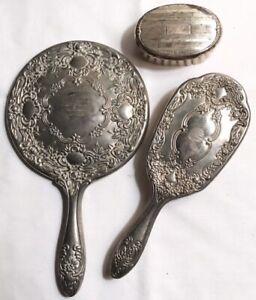 Vintage Antique Silver Plate Vanity Set Hand Held Mirror & Brush Dressing Table
