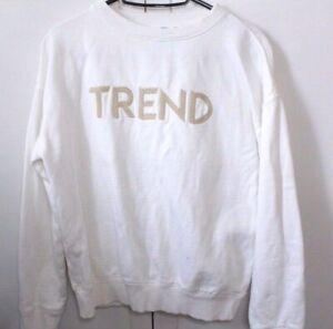 Womens Mango White 'Trend' Slogan Sweater Size UK Small