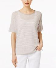 NWT $158 Eileen Fisher Organic Linen Striped Sweater (L)