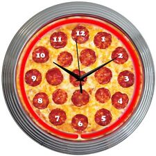 Neon Clock sign Pizza Kitchen Italian restaurant wall lamp Bar beer snack gift