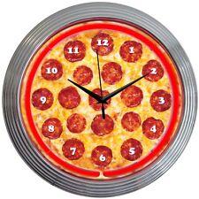 Neon Clock sign  Pizza Italian restaurant   wall lamp  gift light