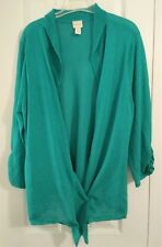 Ladies Solid Green Cardigan-Light Knit-Open Front-Size 3 (Xl -1X ) by Chico's