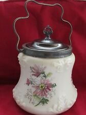 VICTORIAN WAVE CREST GLASS HANDLED BISCUIT COOKIE JAR MARKED SILVER PLATED LID