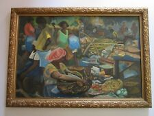 WILLIAM EMERSON PAINTING LARGE TROPICAL MODERNIST VILLAGE FARMERS WORKERS VNTG