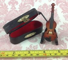 Dollhouse Miniature Musical Instrument Wooden Violin Decor w/ Case n Stand 1:12