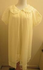 Shadowline Peignoir Set Petite Small Pale Yellow Lace Appliques Trim