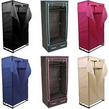 Double Wardrobe Coloured Canvas Rail Bedroom Storage Clothes Cupboard Organiser
