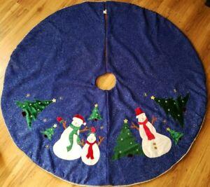 Cobalt Blue 52 inch Silver Metallic Christmas Tree Skirt by ITR