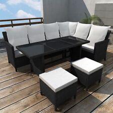 vidaXL Poly Rattan Gartenmöbel 8 Personen Schwarz Lounge Set Essgruppe Garnitur