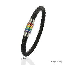 Unisex Gay Pride Rainbow Stripe Leather & Stainless Steel Bracelet Brand New