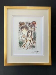 MARC CHAGALL + 1963 BEAUTIFUL SIGNED  PRINT MATTED 11 X 14 + BUY IT NOW!!