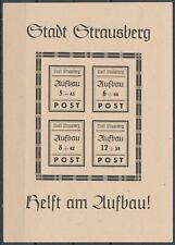 Strausberg Aufbau-Block 1946** Michel Block 2 Plattenfehler (S17157)