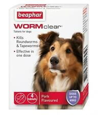 BEAPHAR WORMCLEAR DOG WORMING TABLETS VET-STRENGTH ROUNDWORM TAPEWORM up to 40kg
