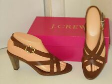 J. Crew Elodie Brown Strappy Ankle Strap Slingback Heels Shoes Womens 6.5
