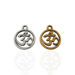 20 x Silver/Gold Tone OM AUM Double Sided Charms Pendants Beads 15x12mm