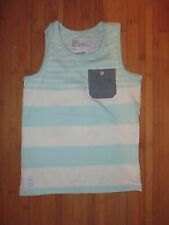 boys boy vest top no sleeves summer t-shirt age 7 years green & cream striped