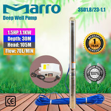 """Marro 3"""" Stainless Steel Submersible Bore Pump Deep Well Upto 105m Head,70l/min"""