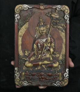 """9.6"""" Old Tibet Wood Painting 7 eyes White Tara Goddess Thangka Thangka Mural"""