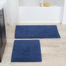 Blue Bath Mat Set 100 Percent Cotton Navy Rugs 2 Piece Mats Soft Slip Bathroom