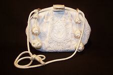 Vintage JUDITH LEIBER White SNAKESKIN Leather HANDBAG With Embroidery