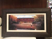 "Adriano Manocchia ""Late In The Angler's Season"" 17X30 Framed Print On Wood Panel"