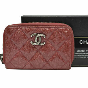 Auth CHANEL Matelasse CC Logo Coin Purse Card slots Red Patent Leather - 53089a