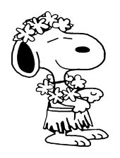 Snoopy Hawaiian luau Dancing Vinyl Graphic Decal Car Window Bumper Sticker