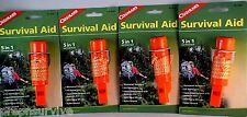 4 PK SURVIVAL AID-COMPASS-WHISTLE-WATERPROOF BOX-FIRESTARTER FLINT-NYLON LANYARD