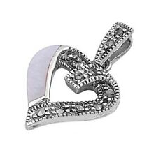 Silver Pendant with Marcasite Heart Pendant Height 26 mm Stone Mother of Pearl
