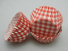 100 red Plaid Cupcake Cake liners baking paper cup muffin case 50x33mm