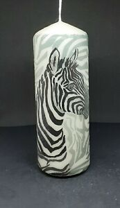 Zebra with Zebra print candle Hand Painted and Decorated Candle, Unique Gift.