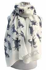 Women Ladies Long Duplicating Horse Pattern Print Shawl Scarf  Warp Stole