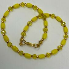 """with Clear Crystal Gold Tone 10"""" Handmade Anklet Yellow Opaque Czech Glass Beads"""