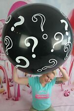 "1 x Qualatex 36"" runder Riesenluftballon QUESTION-MARKS / FRAGEZEICHEN *BLACK*"