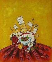 Gemälde - lustiger Koch - handgemalt Leinwand Acryl Malerei modern naiv funny