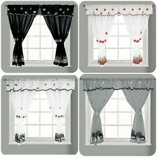 New Embroidered Kitchen Window Curtain Set Rod Pocket Attached Valance Tiebacks