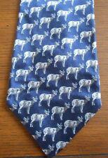 ANDREW SCOTT, 100% SILK TIE, HANDMADE, Blue, Classic Deer Pattern, QUALITY!