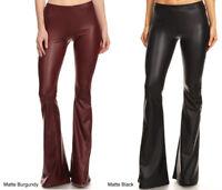 S M L Women's Premium Faux Leather Pants Flare Leg Stretch Mid-Rise Long Black