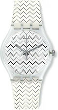 Swatch Men's Wavey Dots White Silicone Strap Watch SUOK118