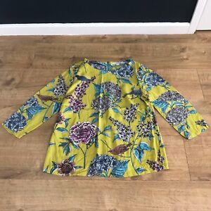 Boden Womens Chartreuse Yellow Floral Bird Print Silk Blend Blouse Top UK 14