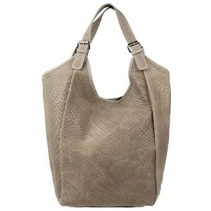 Stella Dutti Italian Made Beige Embossed Leather Oversized Hobo Bag