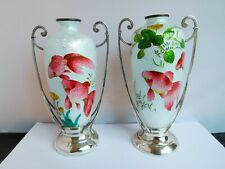 More details for gorgeous edwardian silver mounted japanese ? cloisonne fish vases