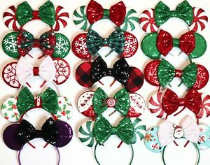 Christmas Minnie Ears, Christmas Mickey Ears, Christmas Disney Ears - HANDMADE