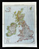 1881 Andrees Map Great Britain England Scotland Ireland London British Isles UK